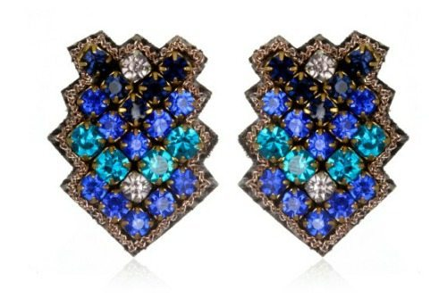 Suzanna Dai's Zocalo button earrings in cobalt and navy.