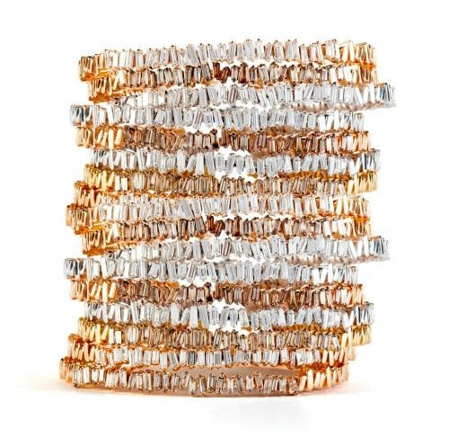Suzanne Kalan Firework bangles with diamond baguettes in gold.