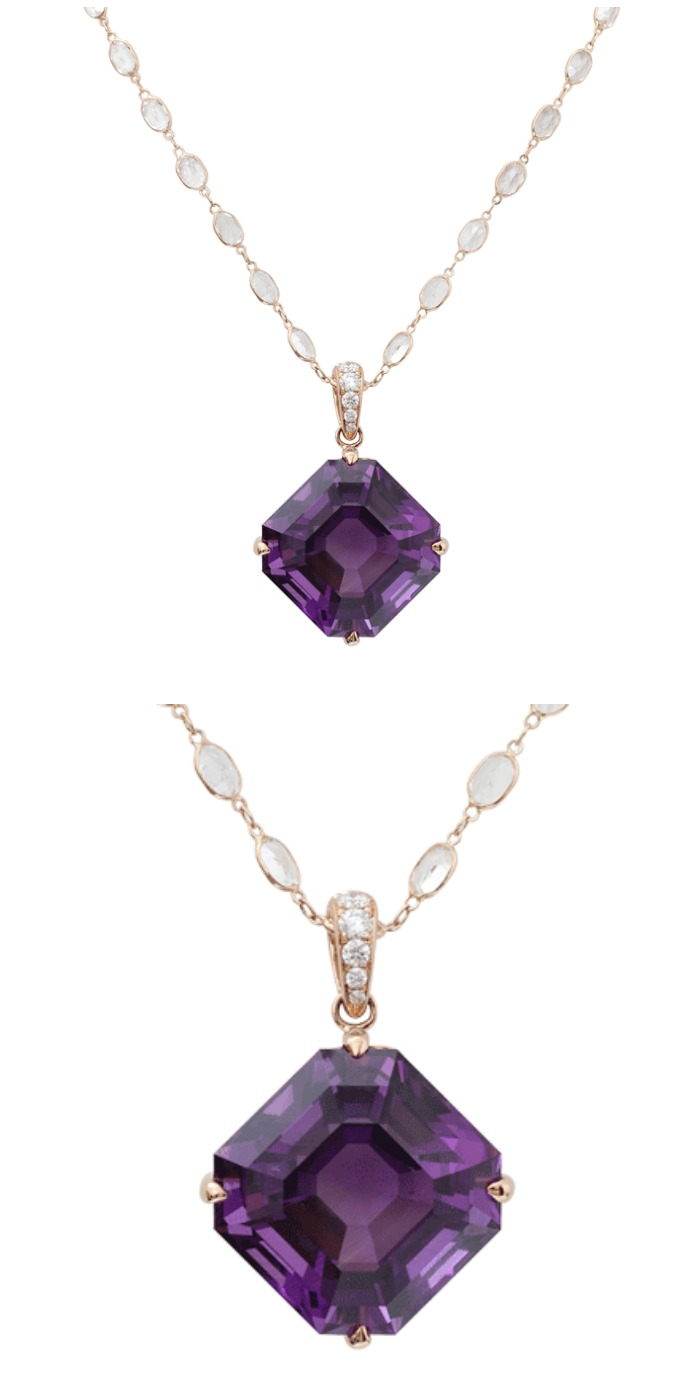 The Amethyst Opening Night necklace from Katherine Jetter, with an amethyst pendant on a moonstone and rose gold chain.