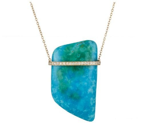 The Feathered Soul Sleeping Beauty turquoise necklace in gold with diamonds.