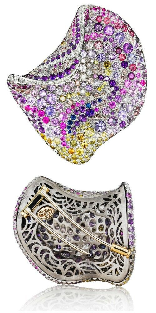 The Naomi Sarna multicolored diamond and sapphire petal brooch in white gold.