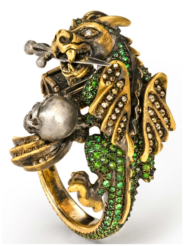 The Wenddy Brandes Dragon and Knight Maneater ring - back view