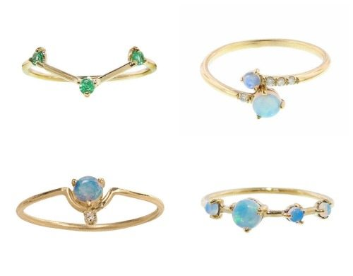 Tiny gemstone rings by Wwake with opals, diamonds, and or emeralds in gold.