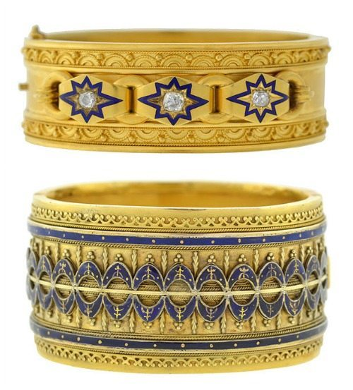 Two Victorian Etruscan revival bracelets in gold with blue enamel. One wider, one with diamonds.