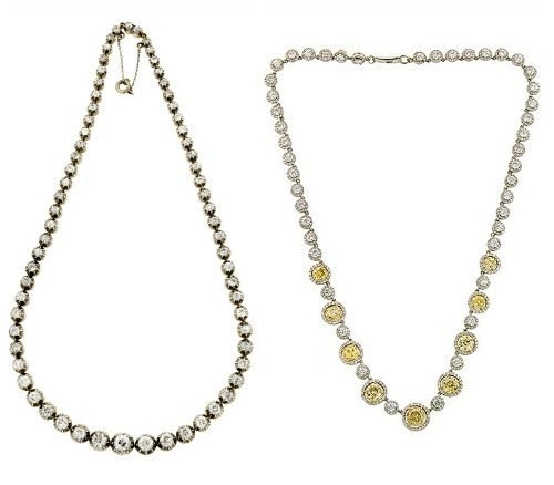 Two spectacular diamond rivere necklaces from Doyle and Doyle one Victorian, one contemporary but antique-inspired.