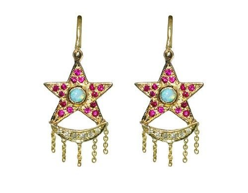 Unhada's Xiao earrings with rubies, diamonds, and opals set in 18k gold