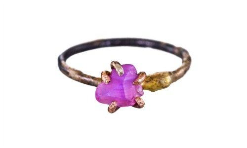Variance small pink sapphire claw ring in oxidized silver.