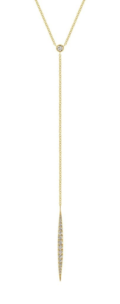 A chic, sexy yellow gold and diamond necklace from Gabriel and Co.