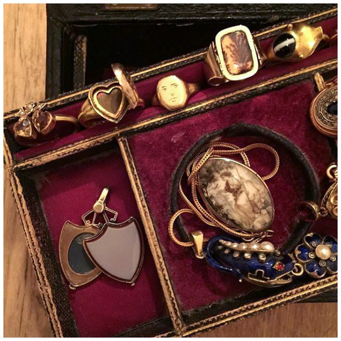 A fantastic jewelry box shot from Antique Animal Jewelry; full of unique and rare antique pieces from the Victorian and Georgian periods.