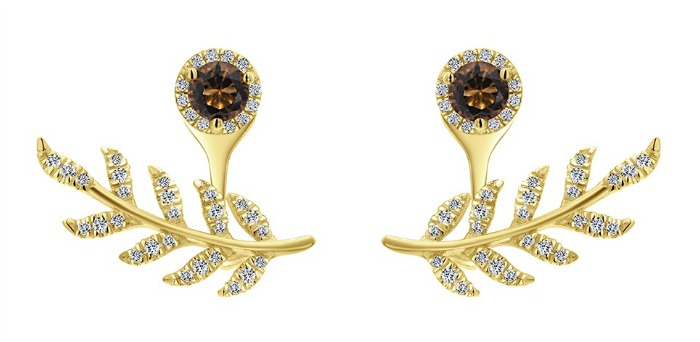 A fantastic pair of yellow gold and diamond earring and ear jacket combo from Gabriel and Co.