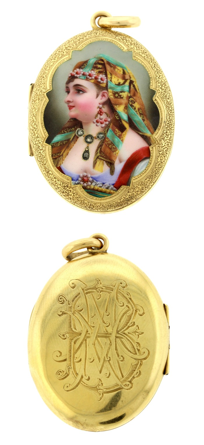 A wonderful antique French Egyptian Revival locket with amazing portrait featuring real diamonds. Victorian era, circa 1800.