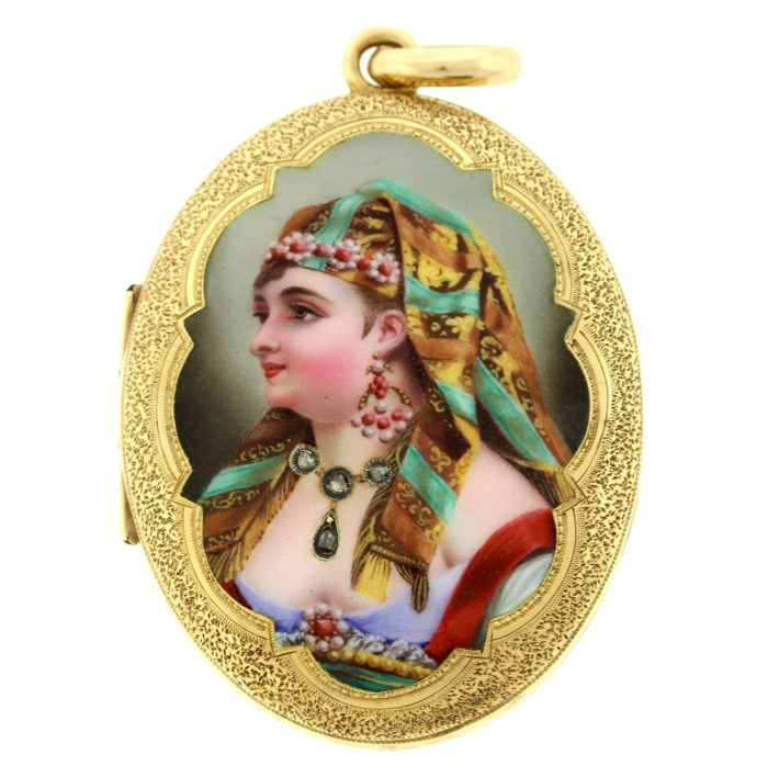 An antique French Egyptian Revival locket with amazing portrait featuring real diamonds. Victorian era, circa 1800.
