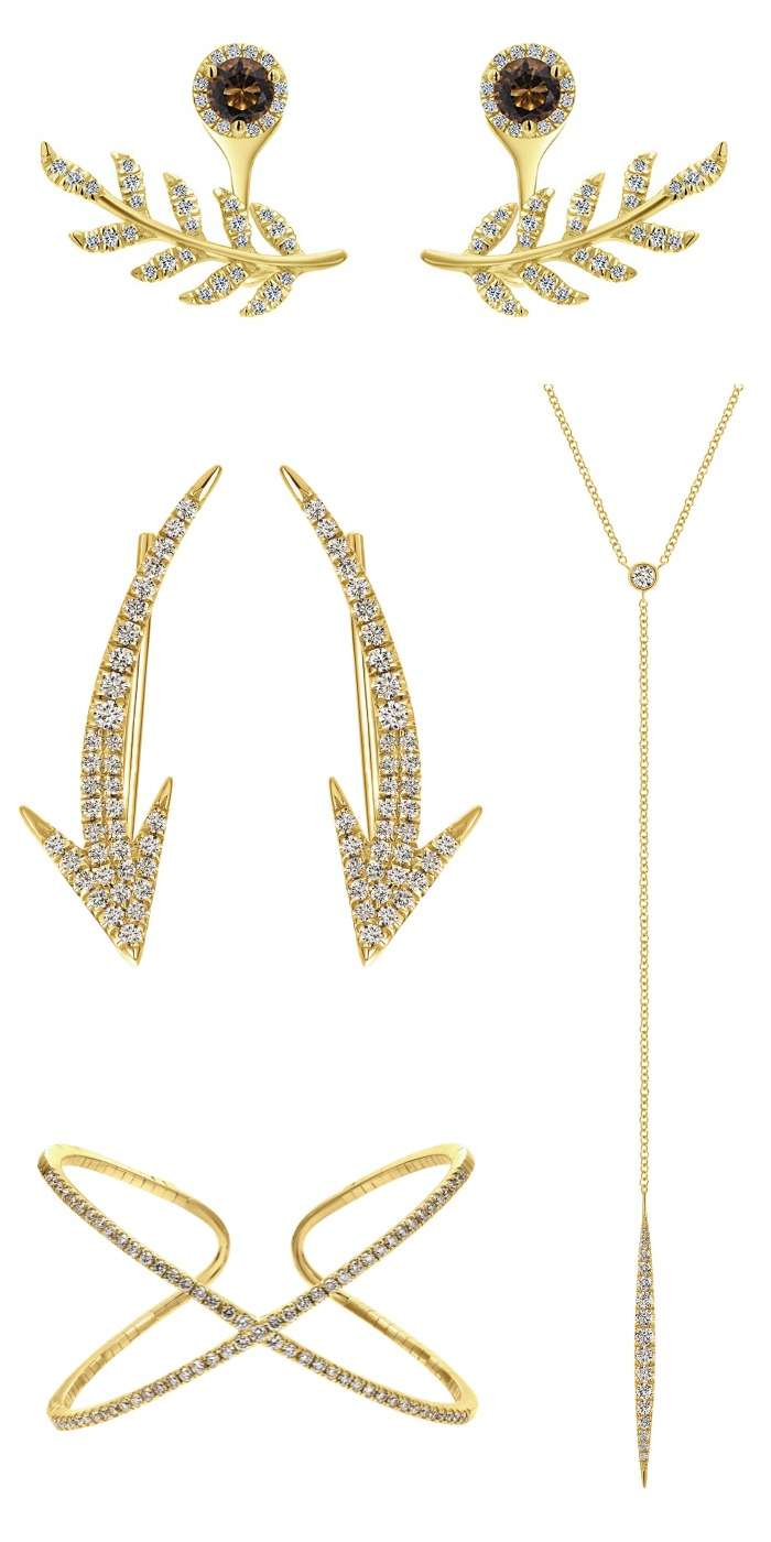 Glorious gold and diamond pieces from a Gabriel and Co collection perfect for the holidays.