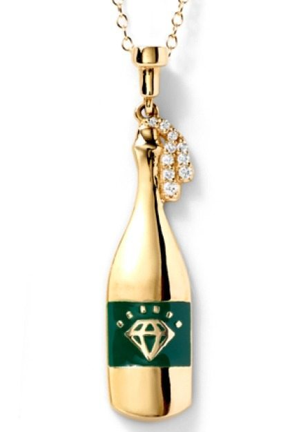The champagne bottle necklace by Alison Lou. In gold with diamonds.
