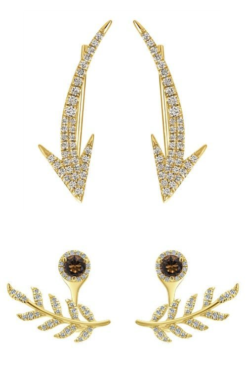 Two yellow gold and diamond ear climbers from Gabriel and Co.