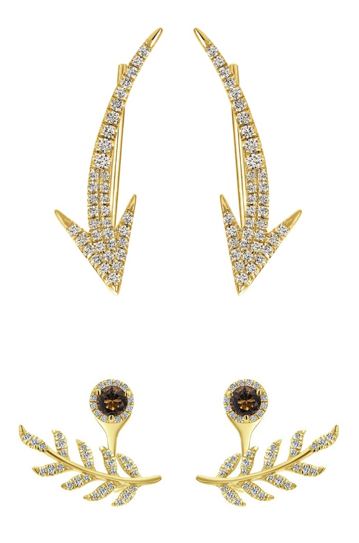 Yellow gold and diamond ear climbers from Gabriel and Co.