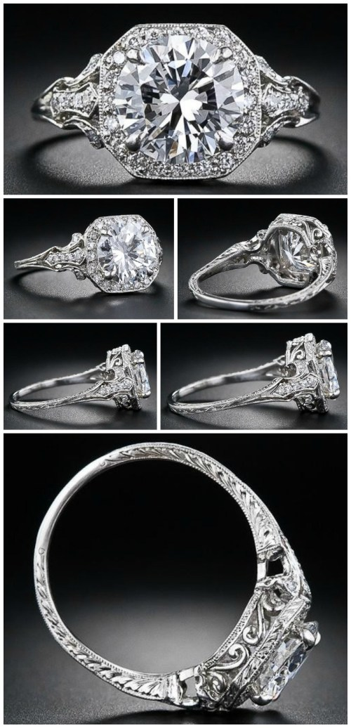 2.17 carat D color diamond Edwardian style engagement ring. Via Diamonds in the Library.