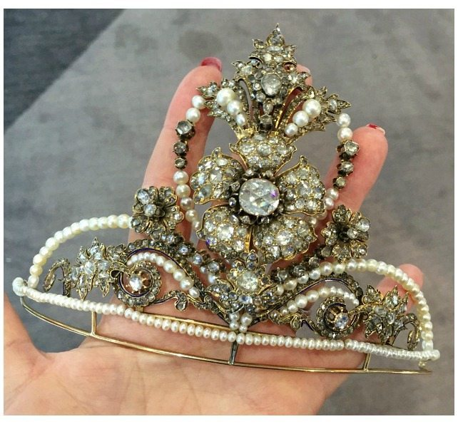 A magnificent antique diamond and pearl tiara from Michael Longmore.