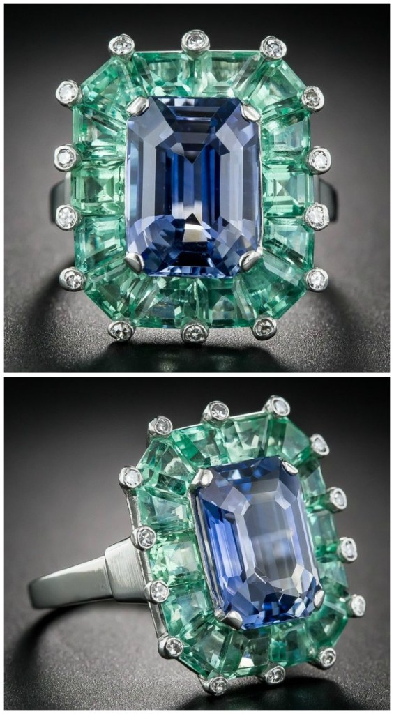 A magnificent antique sapphire and green beryl cocktail ring at Lang Antiques. Art Deco era, circa 1930's-40's.