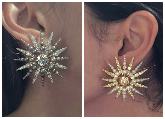 A pair of Bhagat earrings in the shape of starbursts, featuring diamonds and pearls with colored diamonds and colored pearls.