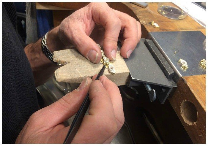A tourmaline and diamond necklace in the making at Todd Reed's studio.