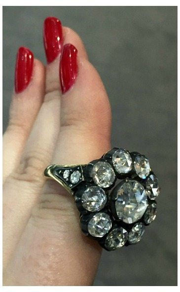 An incredible antique Georgian diamond cluster ring. At Michael Longmore.
