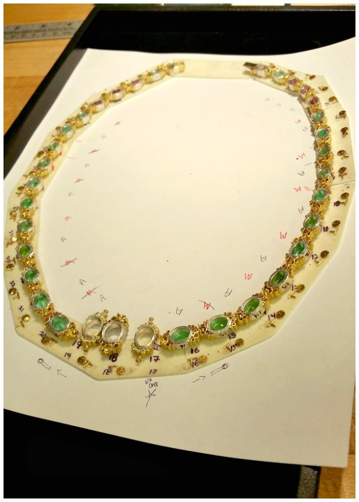 Behind the scenes; in the design process of a one-of-a-kind Todd Reed tourmaline and diamond necklace.
