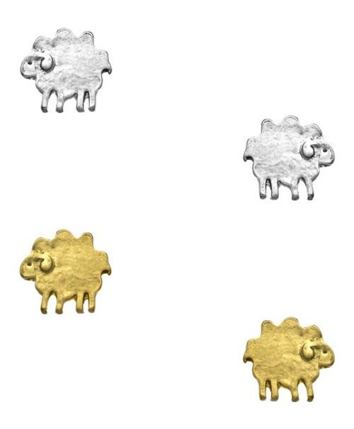 Blu Bijoux sheep post earrings in gold or silver plated.