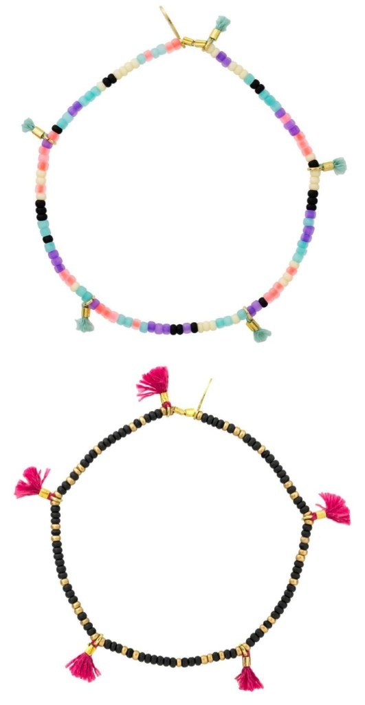 The Shashi Lilu bracelet comes in many colors, each featuing bright seed beads and tiny thread tassels.