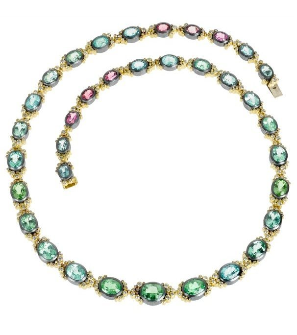 Todd Reed tourmaline and diamond necklace in gold. Pink, blue, and Paraiba tourmalines. A one-of-a-kind piece, with matching earrings.