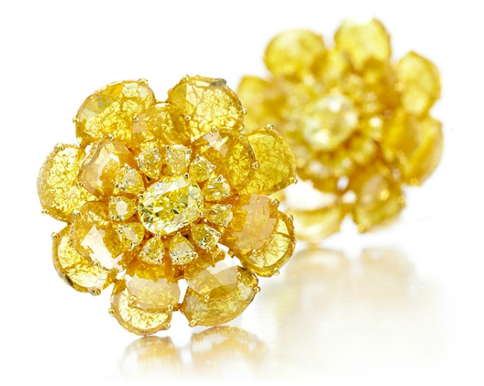 Viren Bhagat yellow diamond flower earrings.