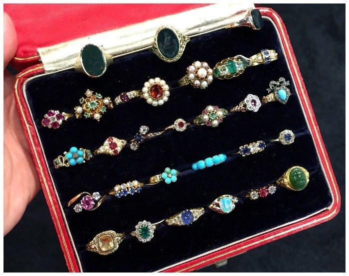 A box full of glorious antique rings from Roy Rover Antiques.