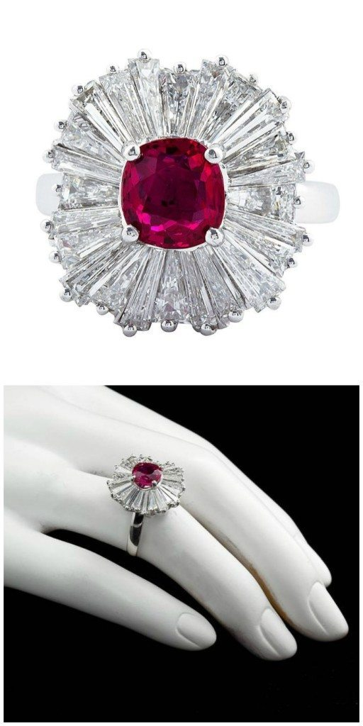 A classic ballerina ring ring with a 1.86 carat cushion cut ruby center and three carats of diamonds.
