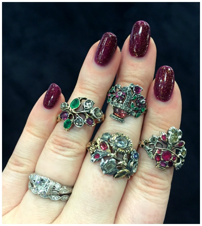 A collection of rare and exquisite Georgian diamond and gemstone giardinetti rings from Lowther Antiques.