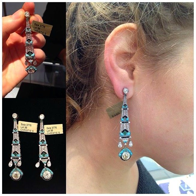 A dreamy pair of emerald, onyx, diamond, and turquoise earrings, sold at Christie's. Modeled here by Kayla Rimmon on her Instagram.