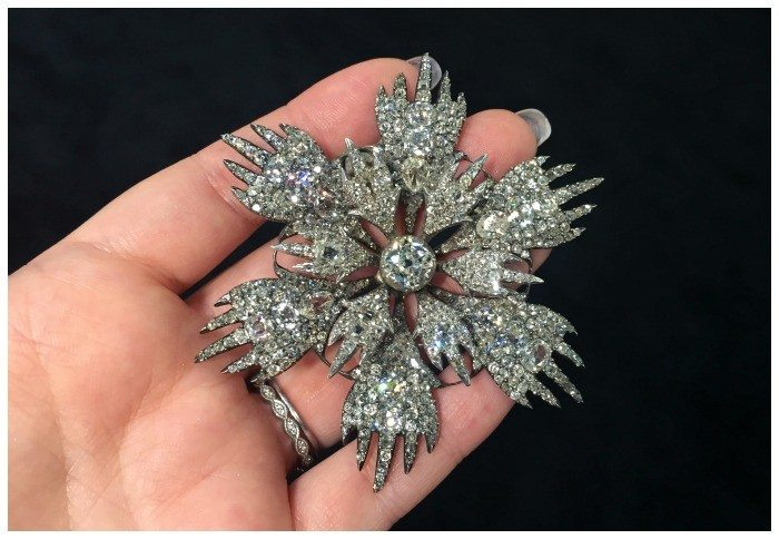 A glorious diamond flower piece of jewelr from the late 1700's to early 1800's. At Spicer Warin.