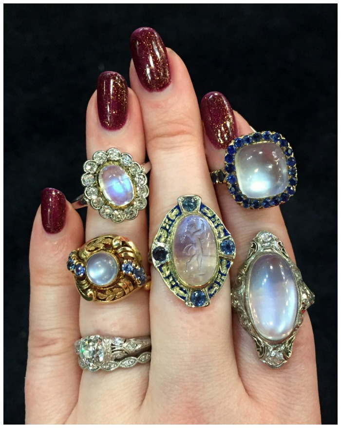 An assortment of antique and vintage moonstone rings from Cynthia Findlay antiques.
