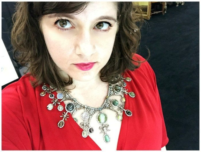 Becky wearing Jogani's glorious antique cat's eye necklace.