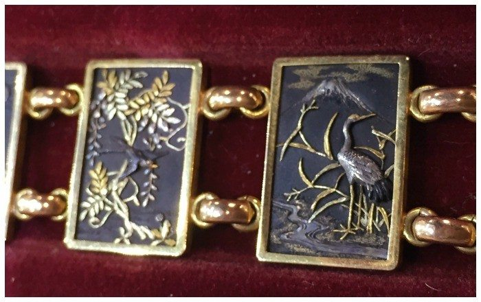 Detail of an exceptional set of Japanese antique shakudo jewelry. From Hancock's.