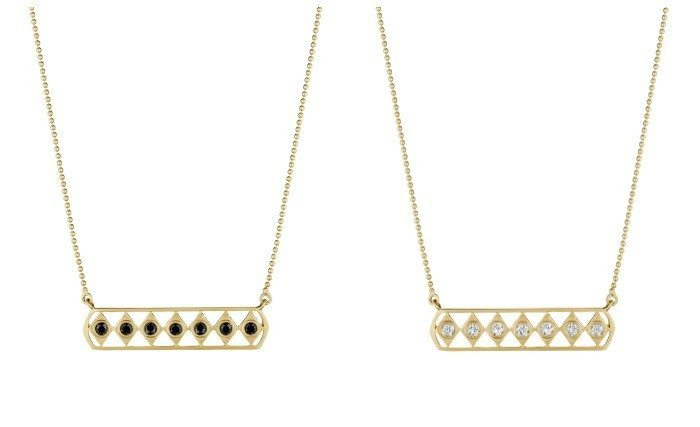 Doryn Wallach bar necklaces in yellow gold with white diamonds or balack onyx.