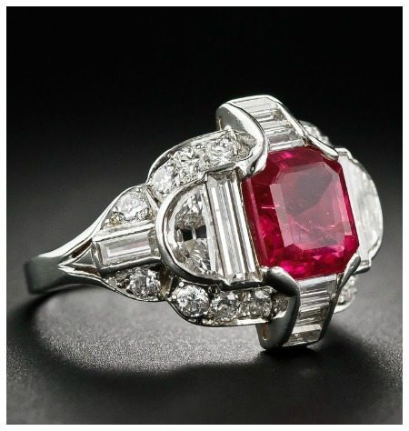 Exceptional Art Deco Burma ruby ring in platinum with diamonds. Circa 1930. At Lang Antiques.