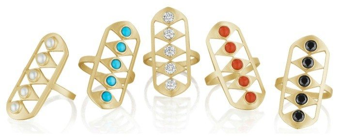 Gladiator rings from Doryn Wallach jewelry. In diamond, pearl, onyx, turquouse, or coral.