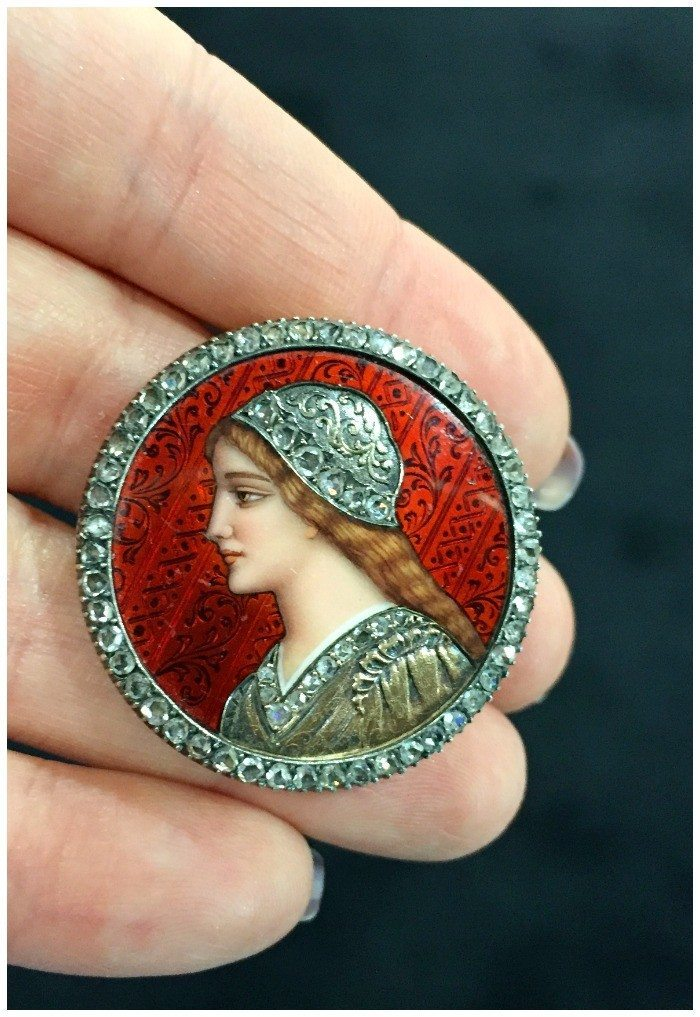 I love the fierce lady on this antique brooch - her armor is made of diamonds, and the rest of the details are enamel.