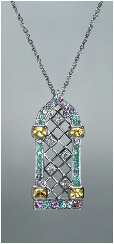 Maria Kodavi's Venetian Window pendant with Paraiba tourmalines, sapphires, topaz, and diamonds in 18kt gold.