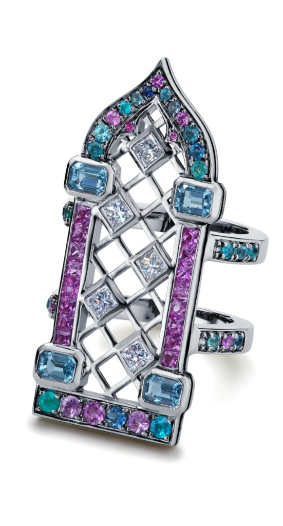 Maria Kodavi's Venetian Window ring, with Paraiba tourmalines, sapphires, topaz, and diamonds in 18kt gold.