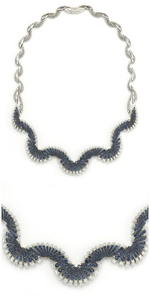Miseno Ventaglio necklace in white gold with 3.91 carats of diamonds and 6.13 carats of blue sapphires.