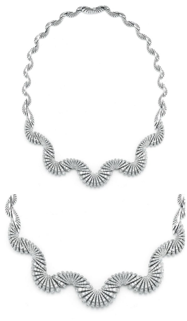 Miseno Ventaglio necklace in white gold with 8.67 carats of diamonds.