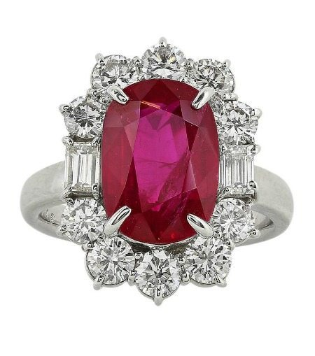 This ruby ring features a gorgeous 5.07 carat center stone surrounded by 1.46 carats of diamonds.