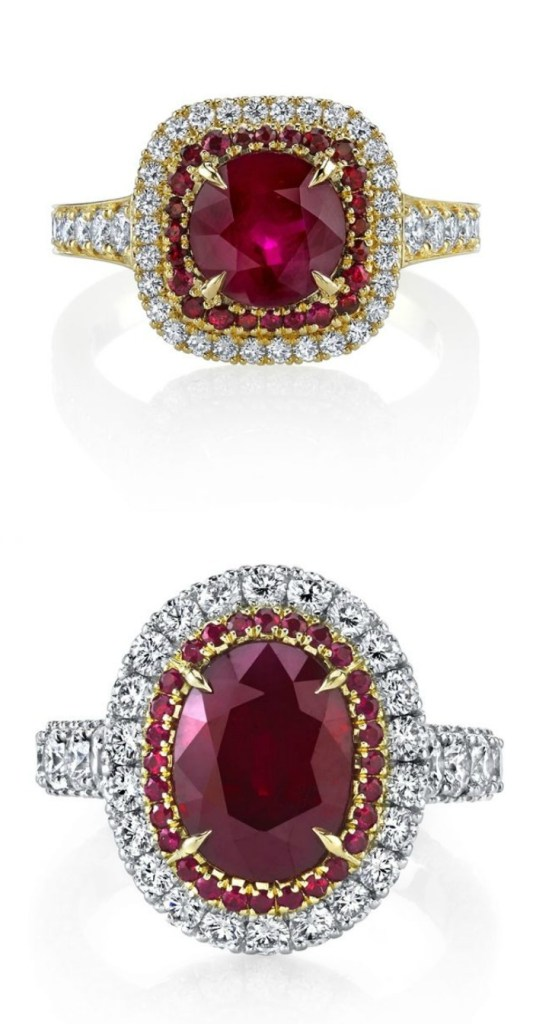 Two glorious ruby and diamond rings by Omi Prive.