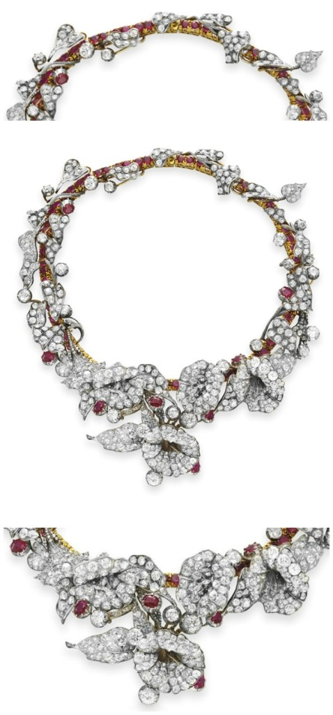 An exquisite 18th century ruby and diamond flower necklace in silver and gold. Victorian era. Detail views of back and front.